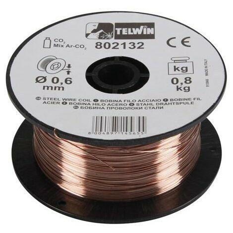 Bobine de fil d'acier pour fil de soudage Telwin 0,6 mm de diamètre 0,8 et 5 kg.