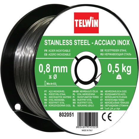 Bobine de fil en acier inoxydable Telwin diamètre 0,8 mm, 0,5 et un kg.