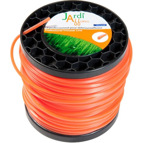 Bobine de fil professionnel Carré pour débroussailleuse 4,4mm x 53 mètres