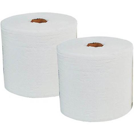 Bobine d'essuyage blanc 1000 feuilles 25x35, les 2