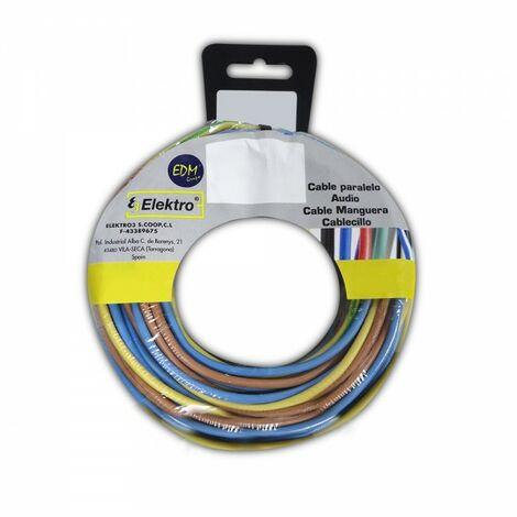 Bobine fil électrique 1,5mm 3 câbles (bleu, marron, vert et jaune) 5mts de chaque couleur. 15mts
