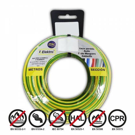 Bobine fil électrique 2,5mm câble bicouleur 25mts sans halogène