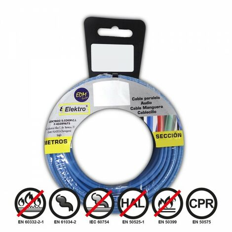 Bobine fil électrique 2,5mm câble bleu 15mts sans halogène
