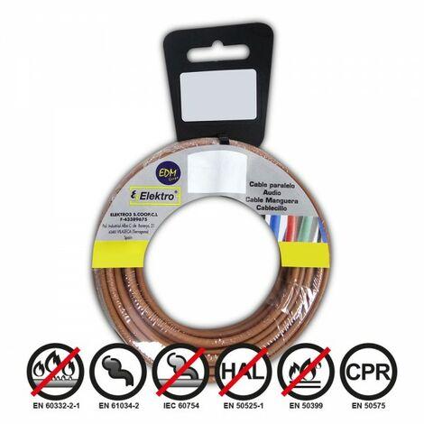 Bobine fil électrique 4mm câble marron 50mts sans halogène