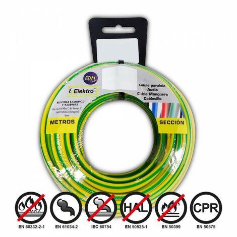 Bobine fil électrique flexible 1,5mm bicouleur 20mts sans halogène