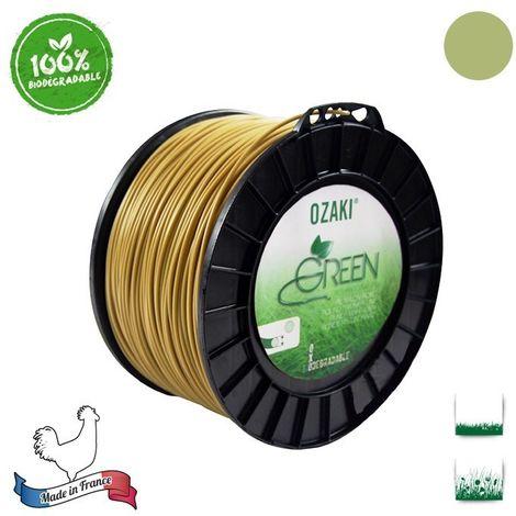 Bobine fil nylon oxo-biodégradable OZAKI green rond - 3 mm x 169m - qualité professionnelle - fabrication française