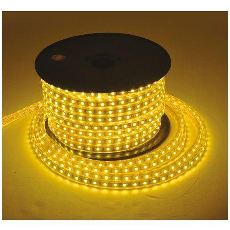 Bobine LED 5050 20m 160W 230V Blanc chaud 2300°K Gaine IP65 sécable