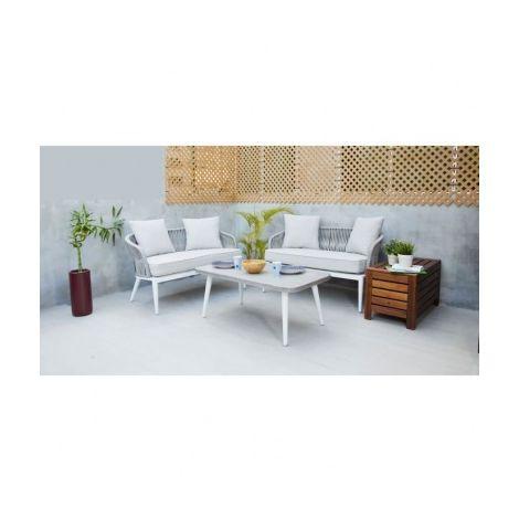 BOCARNEA Salon de jardin 4 places en aluminium et en corde Nala - 2 ...