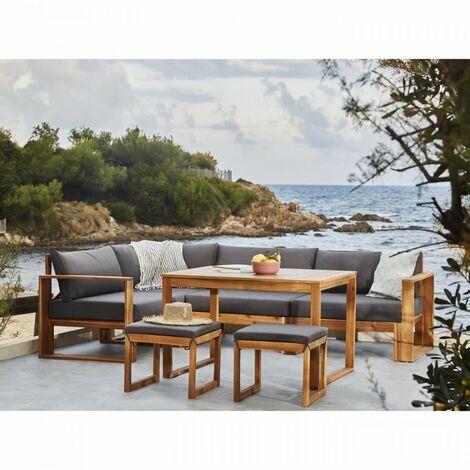 BOCARNEA Salon de jardin LEVATA DINING en bois d'acacia FSC - Avec table haute - 7 personnes - Coussins gris anthracite + Hou…