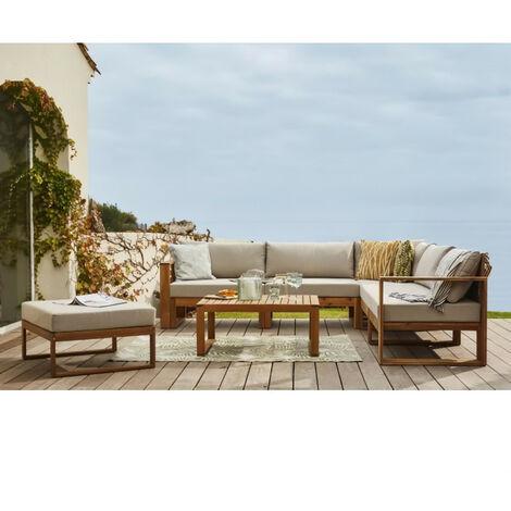 BOCARNEA Salon de jardin LEVATA en bois d'acacia FSC - 6 personnes avec ottoman - Coussins gris et deux tons + Housse incluse