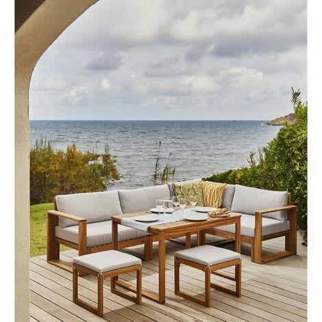 BOCARNEA Salon de jardin LEVATA en bois d'acacia FSC - Avec table haute - 7 personnes - Coussins gris perle + Housse incluse