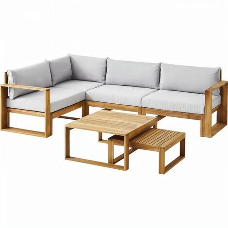 BOCARNEA Salon de jardin LEVATA OTTOMAN en bois d'acacia FSC - 5 personnes - Avec table convertible - Coussins gris perle