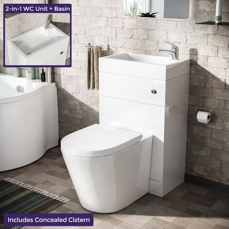 Bode 500mm Compact 2 in 1 WC Basin Unit & Back To Wall Space Saving Round Toilet White