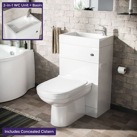 Bode 500mm Compact 2 in 1 WC Basin Unit & Curved BTW Toilet White