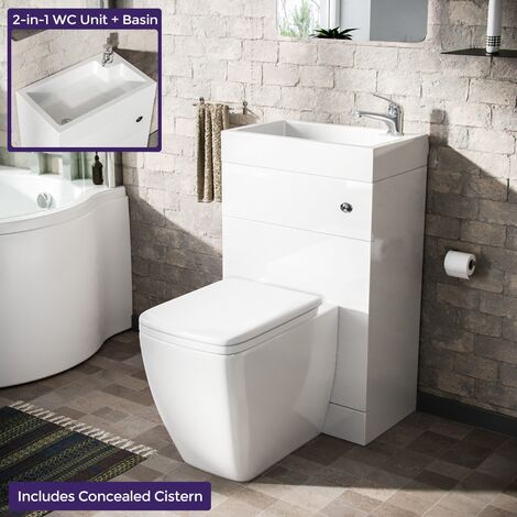 Bode 500mm Compact 2 in 1 WC Basin Unit & Square BTW Toilet White