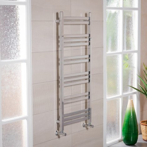 """main image of """"Boden 1200 x 500mm Straight Chrome Square Ladder Heated Towel Rail"""""""