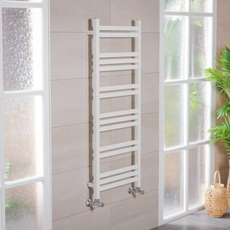 Boden 1200 x 500mm Straight White Square Ladder Heated Towel Rail