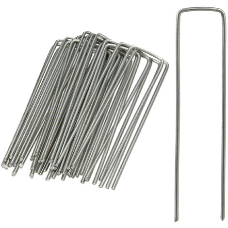 Bodenanker, 25er Set, Rostbeständig, Angeschrägte Enden, Zum Einschlagen, 15cm lang, Verzinkter Stahl, Silber