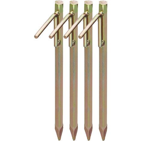 Bodenanker 4er Set, Erdanker für harte Böden, 30,5 cm, Zeltzubehör, zum Einschlagen, Stahl galvanisiert, gold