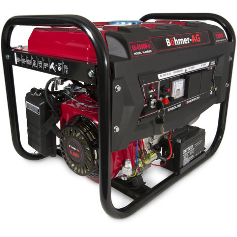 Böhmer-AG 6500W-E - 2800w 8hp Petrol Generator - Quiet Electric Key Start Portable Power