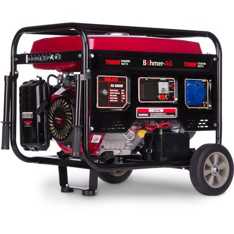 Böhmer-AG 8000W-E - 7500 W, Grupo Electrógeno Versátil a Gasolina con Llave eléctrica - Uno 32 Amp y Uno Adaptador EU Enchufe - 9,5 kVA - 13 HP