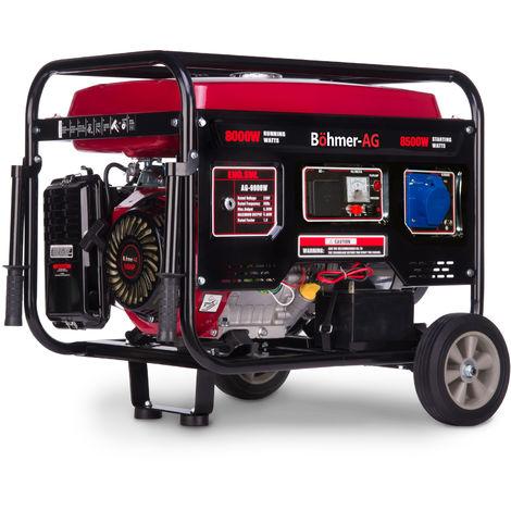 Böhmer-AG 9000W-E - 8500 W, Grupo Electrógeno Versátil a Gasolina con Llave eléctrica - Uno 32 Amp y Uno Adaptador EU Enchufe - 10,5Kva - 17HP