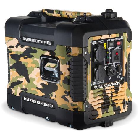 Böhmer-AG - W4500i Générateur à Essence - 2 Kw avec onduleur - Silencieux - Prises EU - Motif Camouflage