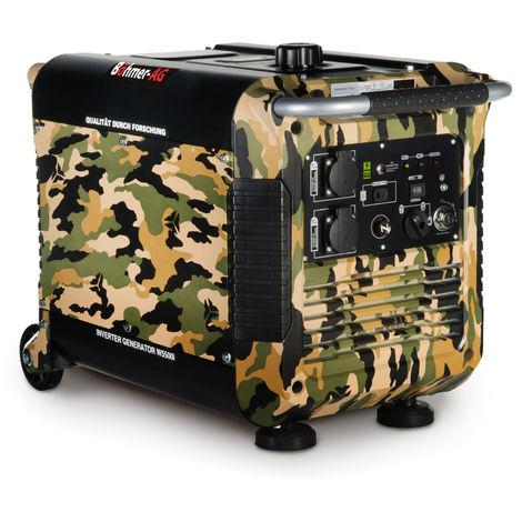 Böhmer-AG - W5500i Générateur à Essence - 3 Kw avec onduleur - démarrage avec clé - Silencieux - Prises EU - Motif Camouflage