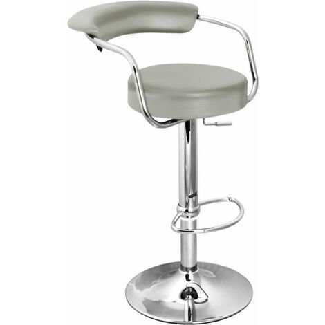 Boham Grey Kitchen Breakfast Bar Stool With Padded Back And Seat And Arms