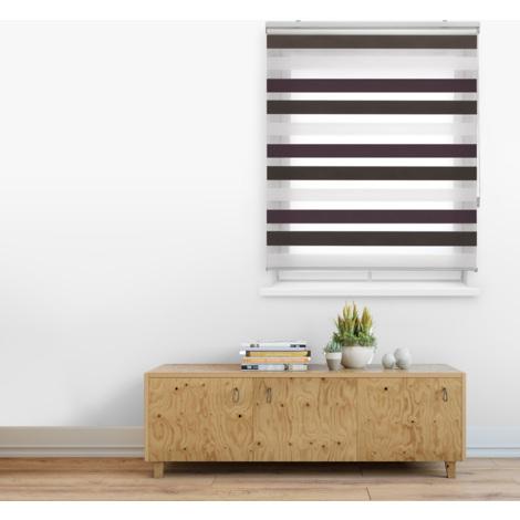Bohem- Estor Noche y Día tricolor, 100x180cm (ancho x alto), color marrón, violeta y blanco
