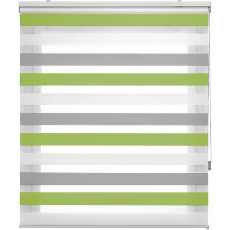 Bohem- Estor Noche y Día tricolor, 100x180cm (ancho x alto), color pistacho, gris y blanco