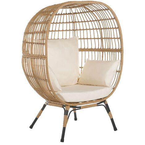 "main image of ""Boho Basket Chair Rattan Sitting Cushions High Backrest Metal Legs Beige Veroli"""
