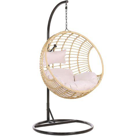 Boho Beige Rattan Hanging Chair with Base Indoor-Outdoor Wicker Round Aspio