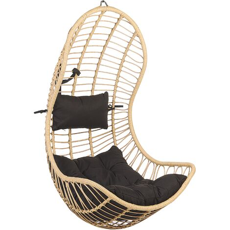 Boho Beige Rattan Hanging Chair without Stand Indoor-Outdoor Wicker Curved Shape Pineto