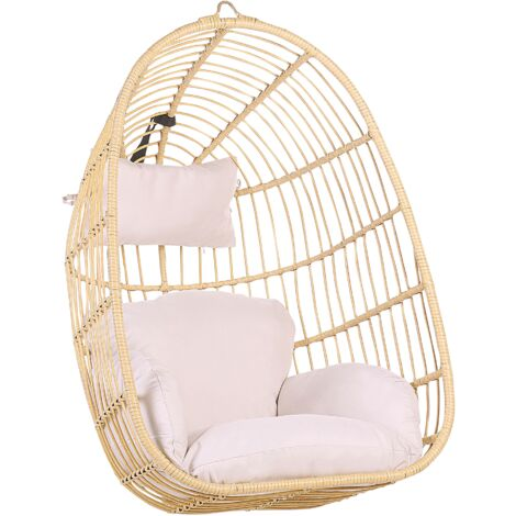 Boho Beige Rattan Hanging Chair without Stand Indoor-Outdoor Wicker Egg Shape Casoli