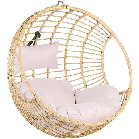 Boho Beige Rattan Hanging Chair without Stand Indoor-Outdoor Wicker Round Aspio