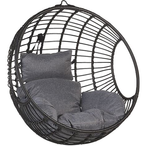 Boho Black Rattan Hanging Chair without Stand Indoor-Outdoor Wicker Round Aspio