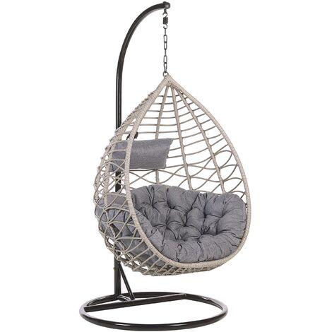 Boho Grey Rattan Hanging Chair Indoor-Outdoor Wicker Basket Arsita
