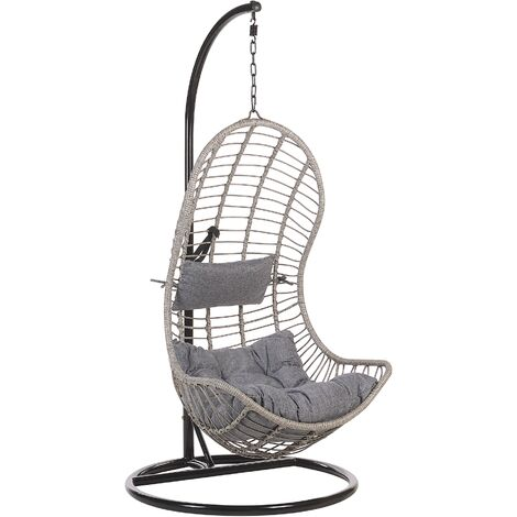 Boho Grey Rattan Hanging Chair with Metal Base Indoor-Outdoor Wicker Curved Shape Pineto