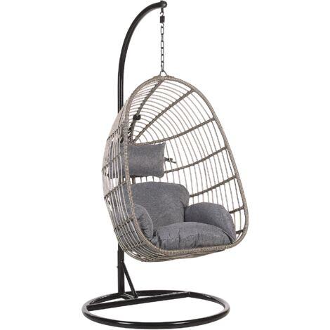 "main image of ""Boho Grey Rattan Hanging Chair with Metal Base Indoor-Outdoor Wicker Egg Shape Casoli"""