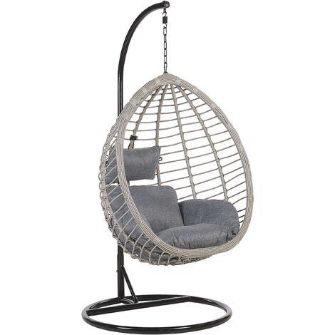 Boho Grey Rattan Hanging Chair with Metal Base Indoor-Outdoor Wicker Egg Shape Tollo