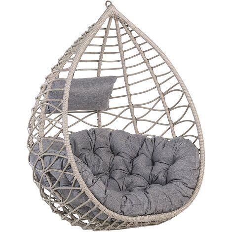 Boho Grey Rattan Hanging Chair without Stand Indoor-Outdoor Wicker Basket Arsita