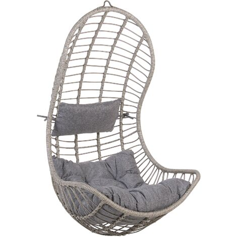 Boho Grey Rattan Hanging Chair without Stand Indoor-Outdoor Wicker Curved Shape Pineto