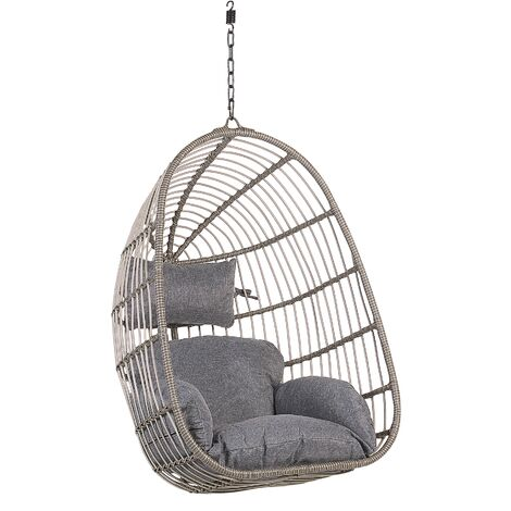 Boho Grey Rattan Hanging Chair without Stand Indoor-Outdoor Wicker Egg Shape Casoli