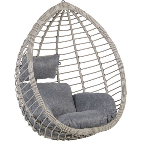 Boho Grey Rattan Hanging Chair without Stand Indoor-Outdoor Wicker Egg Shape Tollo