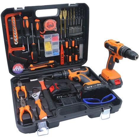 "main image of ""Bohrmaschinen 21V 2 Akku Elektrowerkzeuge Combo Kit Set mit 61-teiligem Zubehör Toolbox Akku-Bohrschrauber-Set für Home Cordless Repair Tool Kit"""