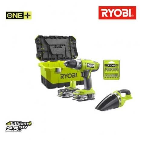 Bohrschrauber Schlag Packung Ryobi 18V OnePlus LLCDI18-225 - Werkstatt Vakuum Ryobi CHV182M - 2 Batterien 18V 2.5Ah Lith