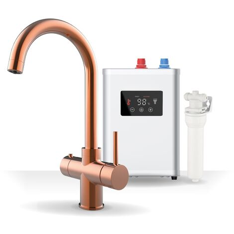 Boiling Water 3in1 Tap Curved Tank & Filter Cold Hot Boiling Water Copper Finish