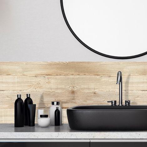 Bois brut | Crédence salle-de-bain en PVC imitation bois brut - Lot de 2 bandeaux L70xH30cm