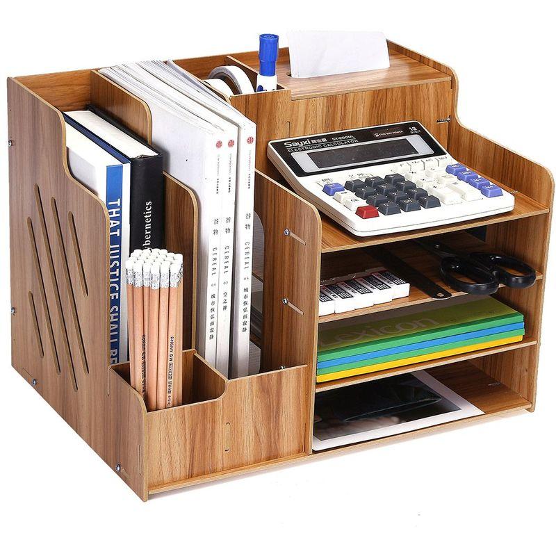 24x7x20inch Bois Organisateur De Bureau Stockage,multipurpose Bureau /étag/ère Pr/ésentoir /étag/ère Top Bookcase Pour Desk Vanity Tabletop-a 60x18x50cm